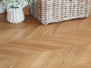 Chevron pattern using Havwoods HW16604 Pallido Chevron timber flooring