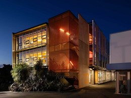 Mesh balustrade adds drama to Wellington creative arts college