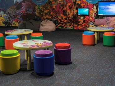 Crayola Wonder Room features EcoSoft plank carpet tiles