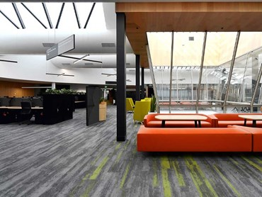 Open plan workspace at Deakin University featuring Fusion carpet planks