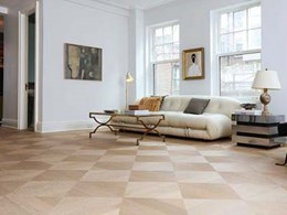 Mafi parquetry in custom diamond pattern stands out in New York apartment