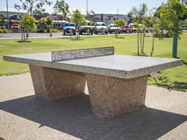 Custom table tennis net for the concrete playing surface at Lions Park