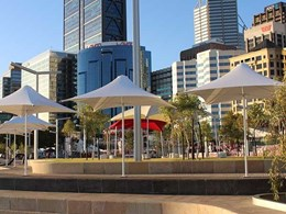 29 MakMax Centra umbrellas installed along Perth's Elizabeth Quay Walkway
