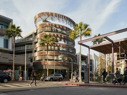 Ribbed kinetic structure created with Kaynemaile Armour for Playa Vista, LA