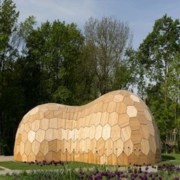 Peanut-shaped plywood pavilion made entirely by robots fits together like a puzzle