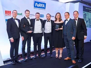 Flowcrete accepting the Large Commercial Project Award at the FeRFA Awards 2018