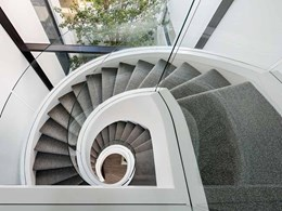 Frameless glass balustrade on spiral staircase opens up light and view