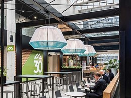 Rope theme of Melbourne CBD food court integrated into Aglo's bespoke luminaires