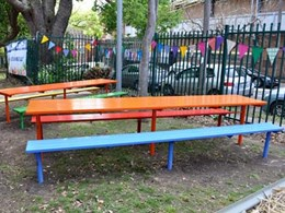 Garden classroom at Petersham Public School furnished with Escola tables and benches