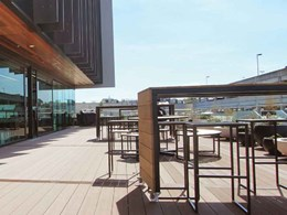 Outdoor staff breakout area at Genesis Energy HQ features Outdure decking system