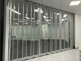 Commercial folding doors securing healthcare centres and labs