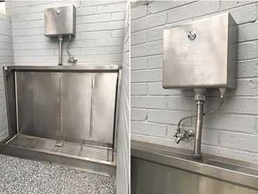 Britex stainless steel Sanistep urinal, push button cistern and flush pipe kit