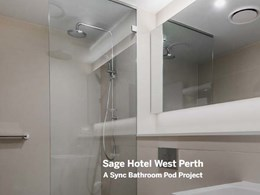 Sync bathroom pods with Kerlite finishes and stone benchtops installed at new Perth hotel