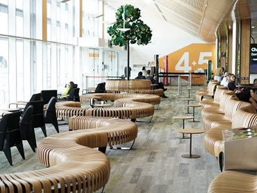 Departure lounge at Hobart Airport featuring Green Furniture Concepts
