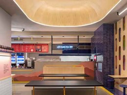 Textured laminates stand out at Melbourne's Huxtaburger restaurant