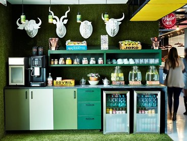 Google Head Office South Africa, Boogertman + Partners, ecocentric and Solid Green. The water hole micro kitchen and games room.