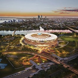Foundations pouring at Mega Perth Stadium by Cox Architects and Hassell