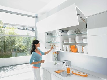 Blum's Aventos lift systems use a soft-close technology for the easy movement of mid and high wall cabinets and units.