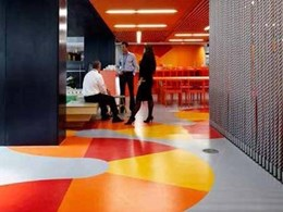 Creative flooring design using Flexo rubber tiles installed at ANZ HQ Docklands