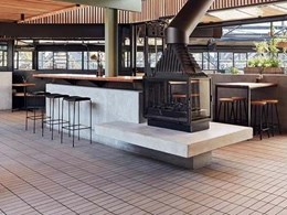 Brick tile flooring complements design palette at iconic Richmond hotel
