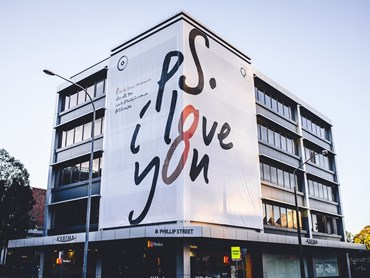 'PS I Love You' was a marketing campaign for the Woods Bagot-designed 8 Phillip Street in Sydney's Parramatta. Image: Supplied