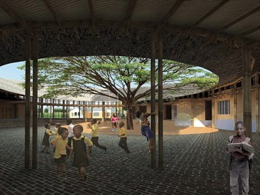 The Kenyan eco-village's courtyard. Image: O2 Design Atelier