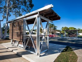 Noosa bus shelters feature x-braced frames and gum cladding