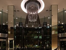 Aglo brings 3-metre high bespoke pendant to life in office building lobby