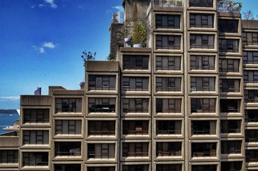 Sirius buildings a prominent example of brutalist architecture in Australia, and its striking repetitive geometries a reaction to the Japanese metabolist architecture movement. Photopgraphy by Martin Pueschel. Source: Wikipedia.