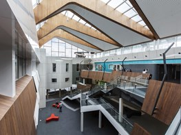 Stretching, slicing a traditional pitched roof for an outdoor-turned-indoor atrium: Deakin University Science Precinct