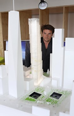 Bjarke Ingels shares a model of his new World Trade Centre building. Photography by Alexander Cohn for New York Daily News