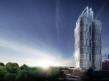 The residential tower will rise in a curvilinear form for 38-storeys (127.5 metres to the top of the roof plant) and will feature a six-storey glazed podium.  Image:  UEM Sunrise