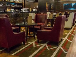 Custom rugs installed in bar and reception areas at InterContinental Melbourne The Rialto