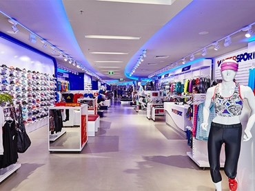 Aglo's lighting design and LED fittings at Intersport
