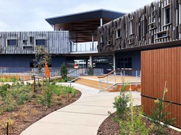 FIBA-DEK timber look decking connects modern school building with landscape