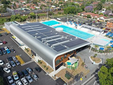 KingZip Linea architectural roofing on Ashfield Aquatic Centre