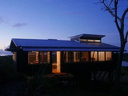 Innovative timber dwelling Pak Shak fitted with louvre windows to maximise ventilation