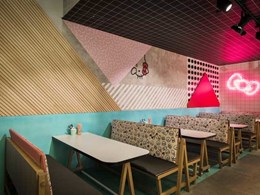 Feature wall created at Hello Kitty Diner in Sydney with Glosswood timber lining boards