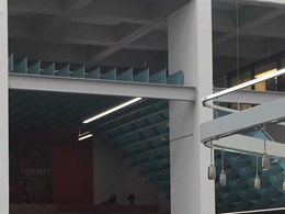 Custom drop ceiling acoustic solution makes a striking impact in university dining hall