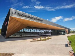 Louvres on all facades maximise ventilation at La Trobe Stadium indoor courts