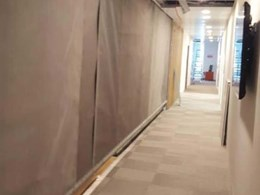 Greene Fire vertical fire curtains provide smoke and fire separation at Melbourne office