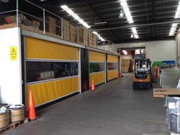 DMF's rapid roll doors help create sealed work area under mezzanine floor