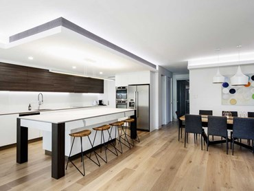 The Maroubra home - open plan design with bulkheads and a dropped ceiling