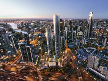 Melbourne Square (aerial view) is a six-tower mixed use development in Southbank
