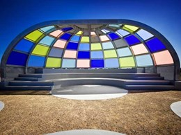 Design firm uses Perspex Frost's wide colour range to create striking amphitheatre cover
