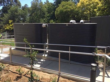 Stormwater detention system featuring Modline rainwater tanks