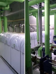 Nine Meridian condensing hot water heaters provide hot water and heating at Canberra Next Gen