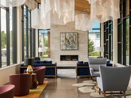 Ceiling light features created with Kaynemaile mesh at lakeside luxury apartments