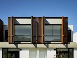 Luxury townhouses at The Pavilions feature natural timber look screening