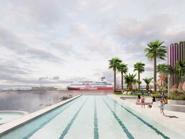 The Port Melbourne pool proposal by Wowowa Architecture and Andre Bonnice includes an Olympic-size lap pool. Image: Courtesy Wowowa
